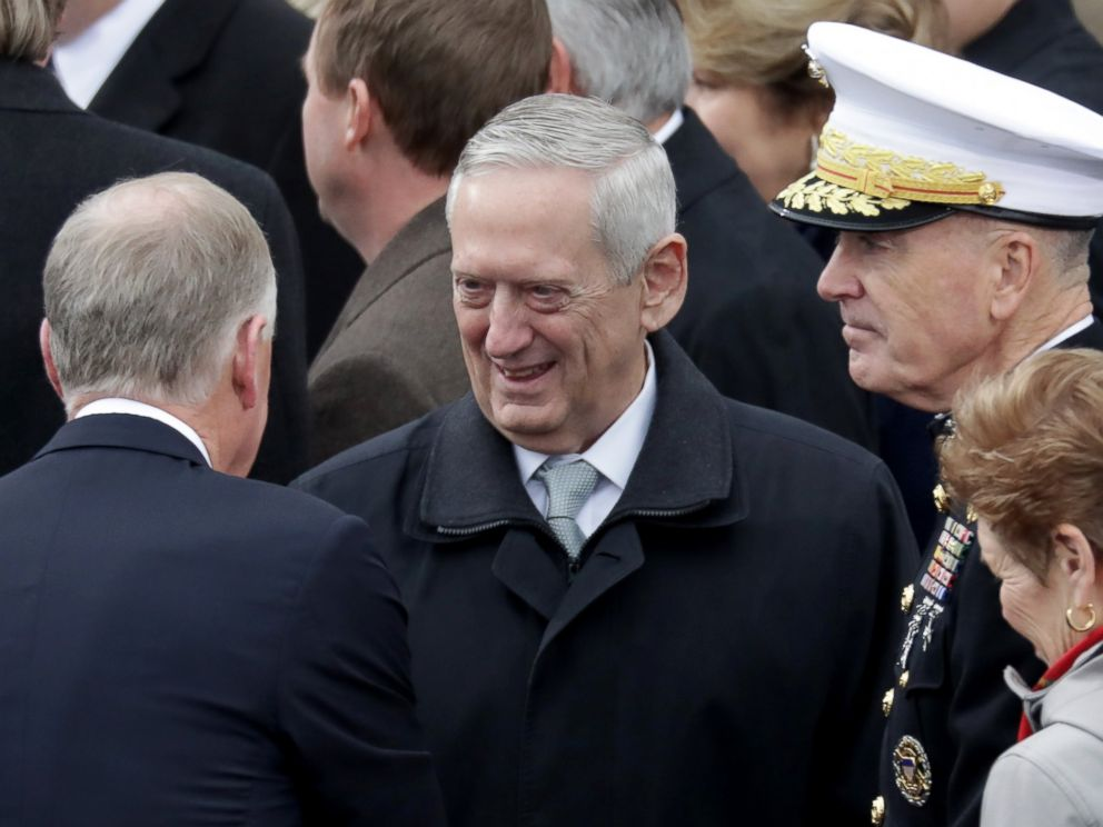 PHOTO: Donald Trumps Defense Secretary Gen. James Mattis (C) arrives on the West Front of the U.S. Capitol on January 20, 2017 in Washington, DC. He was the first Trump Cabinet nominee confirmed by the Senate today, with a 98-1 vote.