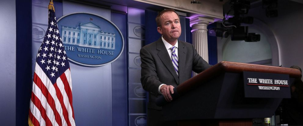 PHOTO: White House Budget Director Mick Mulvaney speaks during a White House daily briefing at the James Brady Press Briefing Room, Feb. 27, 2017, at the White House, in Washington.