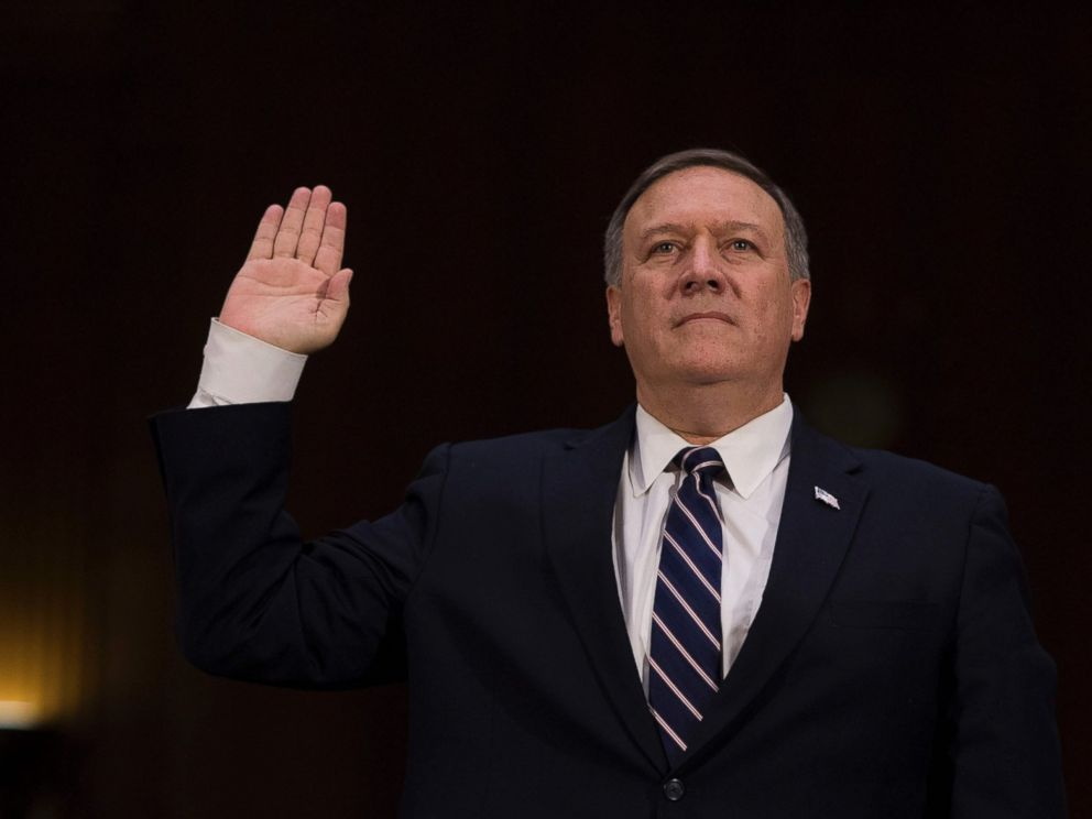 PHOTO: Congressman Mike Pompeo is sworn in before testifying before the Senate (Select) Intelligence Committee on Capitol Hill in Washington, D.C., Jan. 12, 2017, on his nomination to be director of the Central Intelligence Agency (CIA).