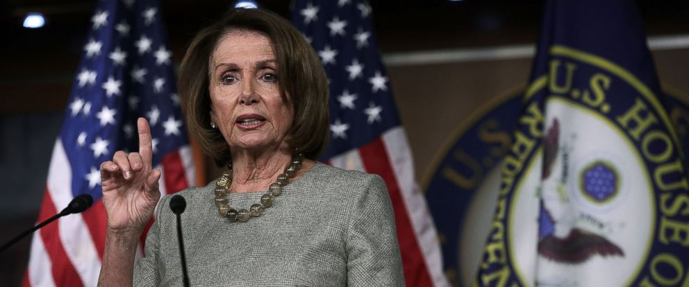 PHOTO: U.S. House Minority Leader Rep. Nancy Pelosi (D-CA) speaks during her weekly news conference, Feb. 16, 2017, on Capitol Hill in Washington.