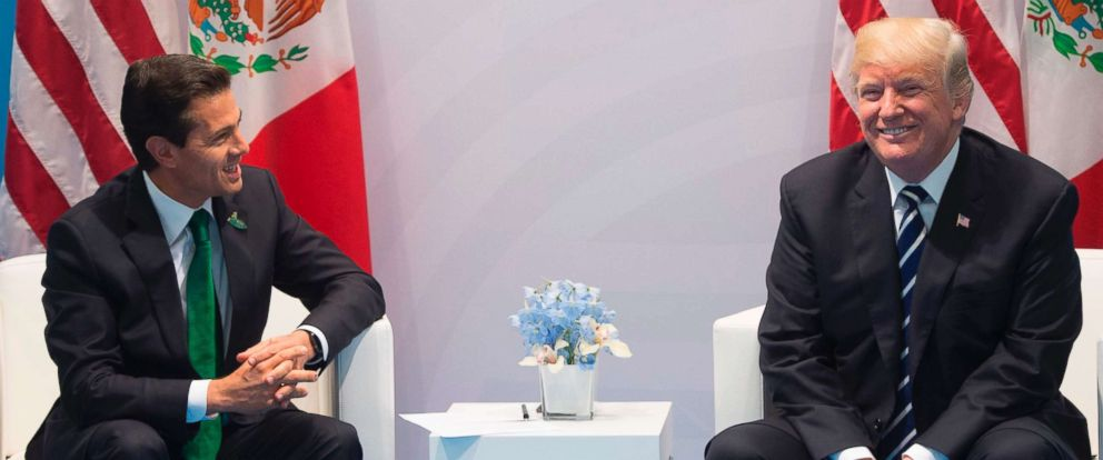 PHOTO: Mexican President Enrique Pena Nieto and President Donald Trump hold a meeting on the sidelines of the G20 Summit in Hamburg, Germany, on July 7, 2017.