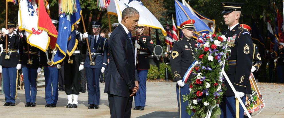 PHOTO: U.S. President Barack Obama participates in a wreath-laying ceremony at the Tomb of the Unknown Soldier at Arlington National Cemetery in Arlington, Virginia to commemorate Veterans Day, on Nov. 11, 2016.