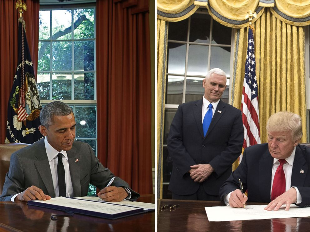PHOTO:President Obama in the Oval office, July 2015. President Trump in the Oval office, January 2017.