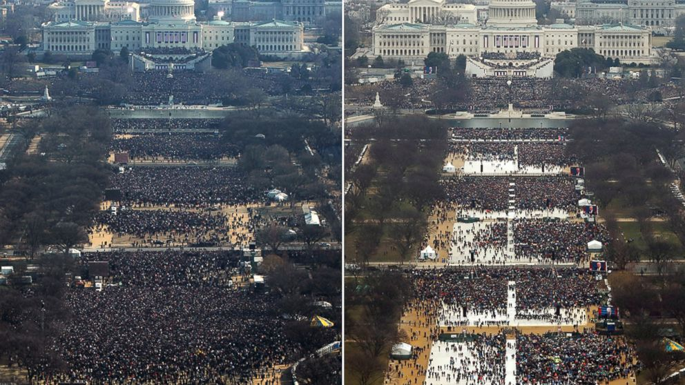 At left, President Barack Obama's 2009 inauguration at approximately 11AM. At right, President-Elect Donald Trump's 2017 inauguration at approximately 12PM.