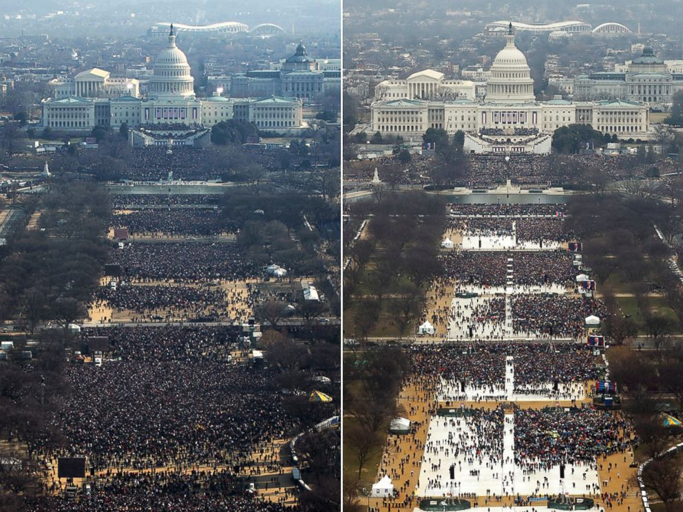 PHOTO: Jan. 20, 2009 Inauguration, 11AM | Jan. 20, 2017 Inauguration, 12PM