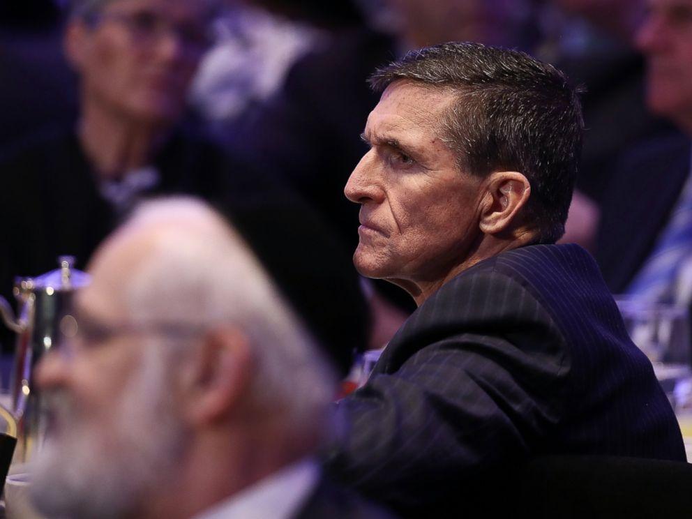 PHOTO: National Security Adviser Michael Flynn listens to remarks at the National Prayer Breakfast where President Donald Trump spoke Feb. 2, 2017 in Washington, DC.