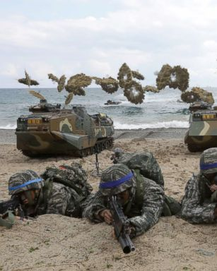 PHOTO: South Korean marines participate in landing operation referred to as Foal Eagle joint military exercise with U.S. troops Pohang seashore, on April 2, 2017, in Pohang, South Korea.