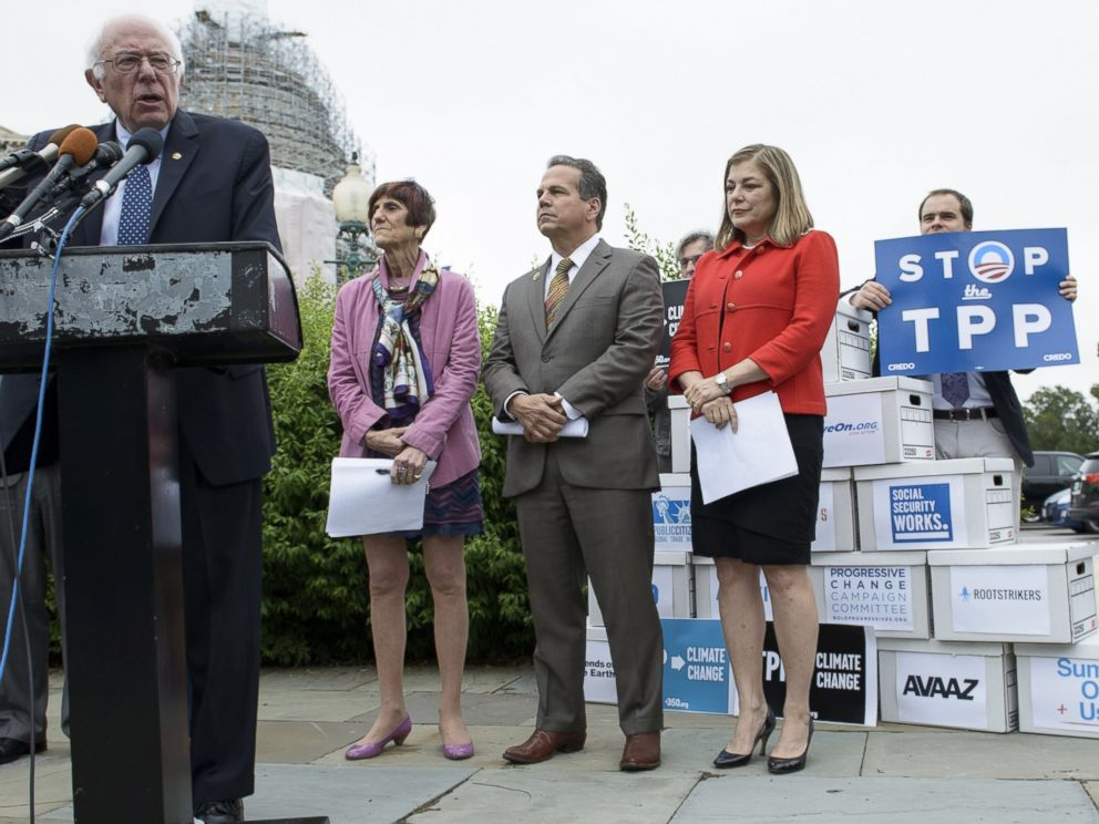 PHOTO: Democratic presidential candidate Senator Bernie Sanders (I-VT) speaks during an event on the Trans Pacific Partnership on Capitol Hill June 3, 2015 in Washington, DC.