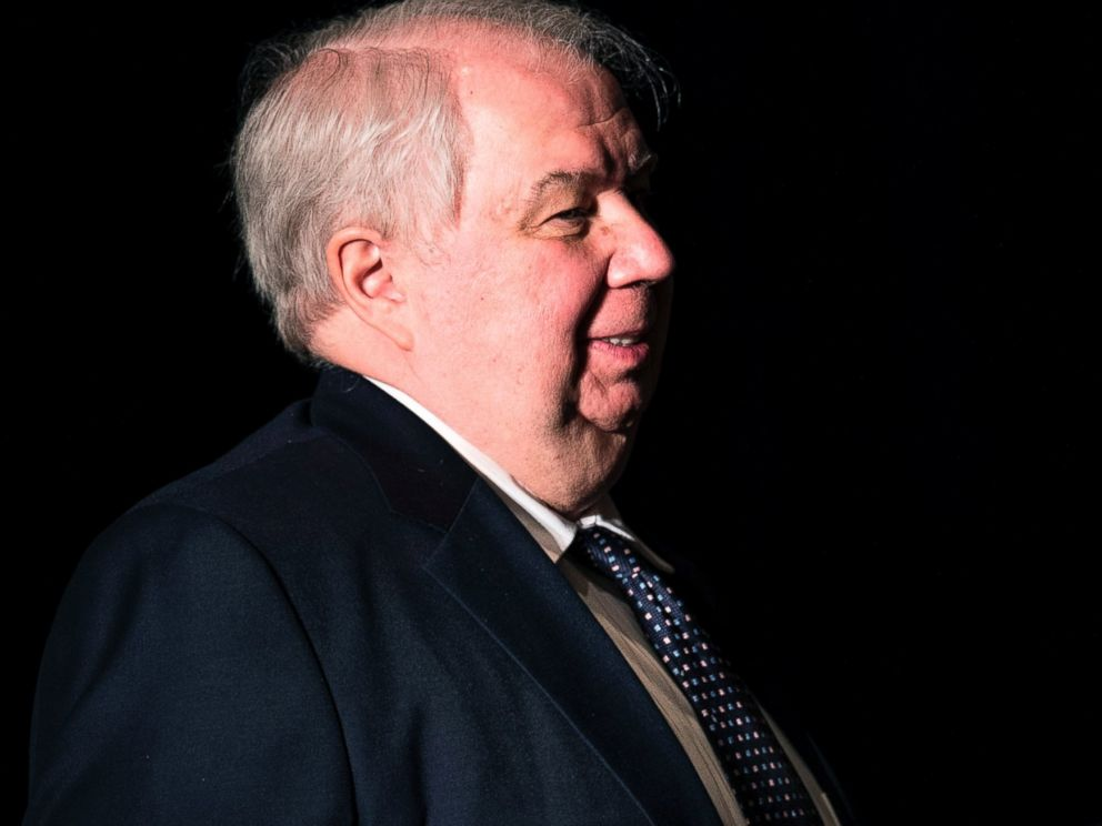 PHOTO: Russian Ambassador to the U.S. Sergey Kislyak, left, leaves the Mayflower Hotel after a foreign policy speech by then Republican presidential hopeful Donald Trump, April 27, 2016, in Washington, D.C.