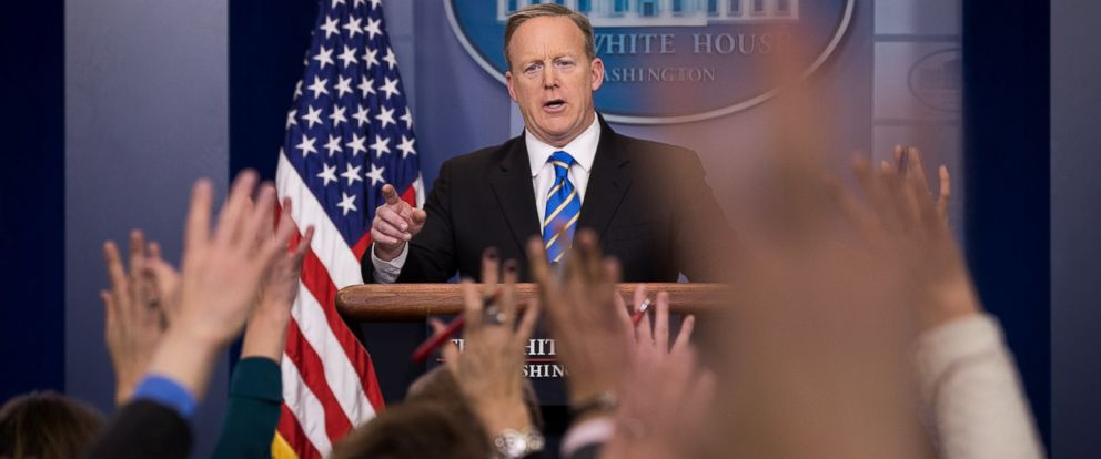 PHOTO: White House Press Secretary Sean Spicer takes questions during the daily press briefing in the James Brady Press Briefing Room at the White House, January 24, 2017 in Washington, DC.