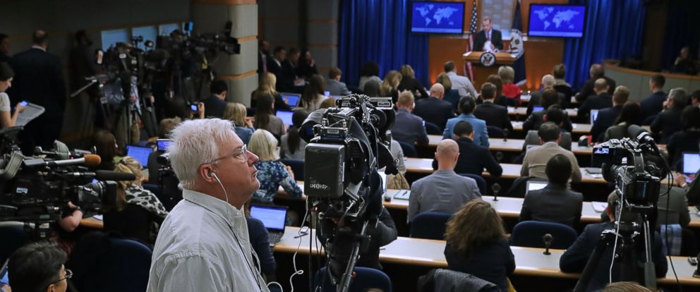 PHOTO: It was standing room only for a news breifing with State Department acting spokesman Mark Toner, the departments first on-camera briefing since President Donald Trump was inaugurated, March 7, 2017 in Washington.