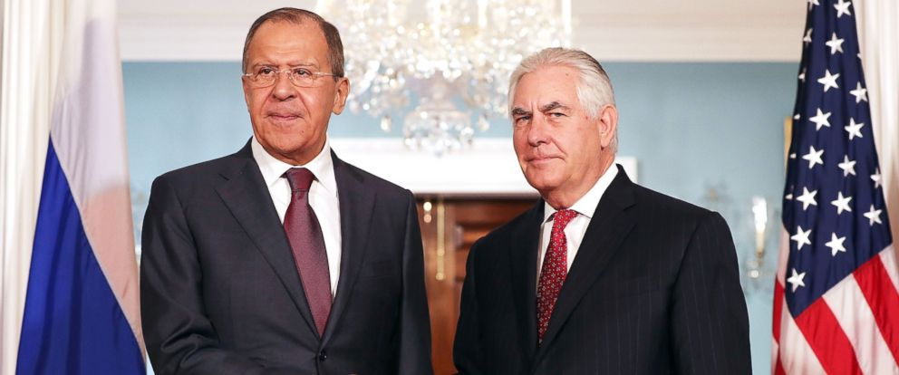 PHOTO: Russian Foreign Minister Sergey Lavrov (L) and U.S. Secretary of State Rex Tillerson shake hands in the Treaty Room before heading into meetings at the State Department, May 10, 2017, in Washington.