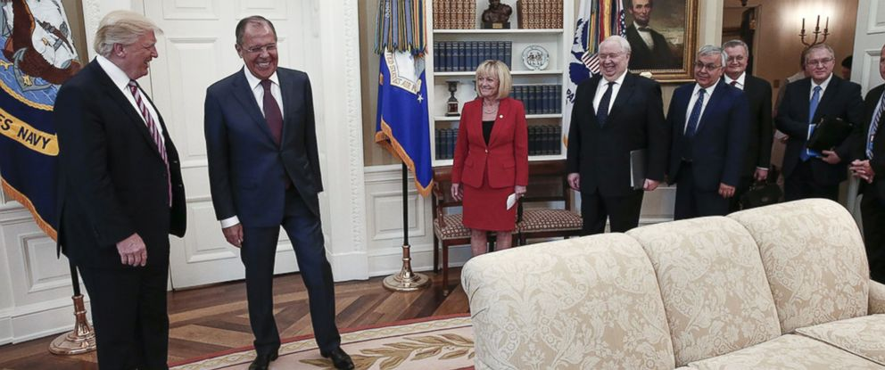 PHOTO: In this handout photo made available by the Russian Foreign Ministry, President Donald J. Trump, left, and Russian Foreign Minister Sergei Lavrov are seen meeting in the Oval Office, May 10, 2017.