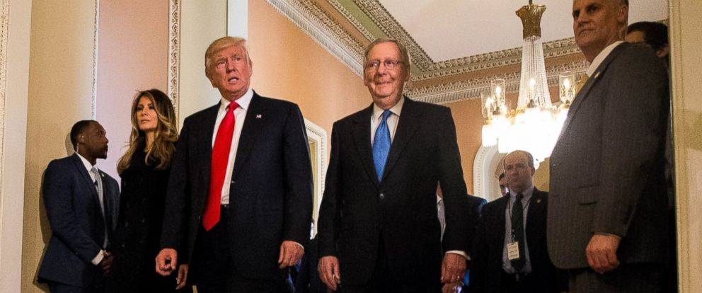 PHOTO: President-elect Donald Trump with Senate Majority Leader Mitch McConnell (R-KY), at right, at the U.S. Capitol Nov. 10, 2016 in Washington, DC.