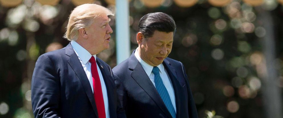 PHOTO: President Donald Trump, left, and Chinese President Xi Jinping at the Mar-a-Lago estate in West Palm Beach, Fla. on April 7, 2017.