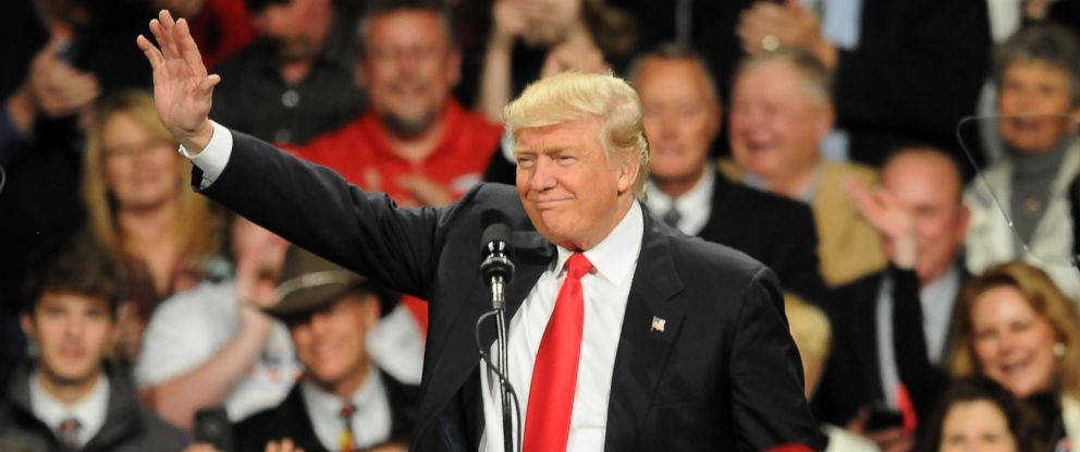 PHOTO: President-elect Donald Trump speaks at a Victory Tour Rally, on December 8, 2016 in Des Moines, Iowa. Trump is taking time time to speak in several of the states that helped him win the election.