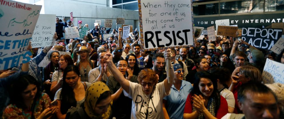 PHOTO: Hundreds of people protest President Donald Trumps travel ban at the Tom Bradley International Terminal at LAX, January 29, 201,7 in Los Angeles.