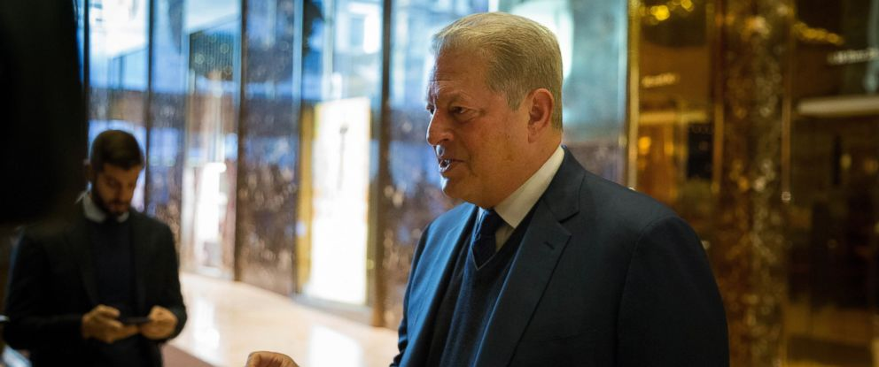 PHOTO: Former Vice President Al Gore talks to the media after meeting with President-elect Donald Trump at Trump Tower, Dec. 5, 2016, in New York City.