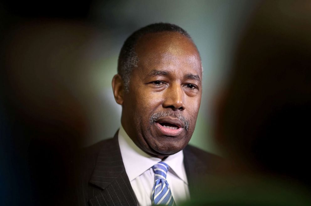 PHOTO: Housing and Urban Development Secretary Ben Carson speaks to the media during a visit to the Liberty Square apartment complex, April 12, 2017, in Miami.