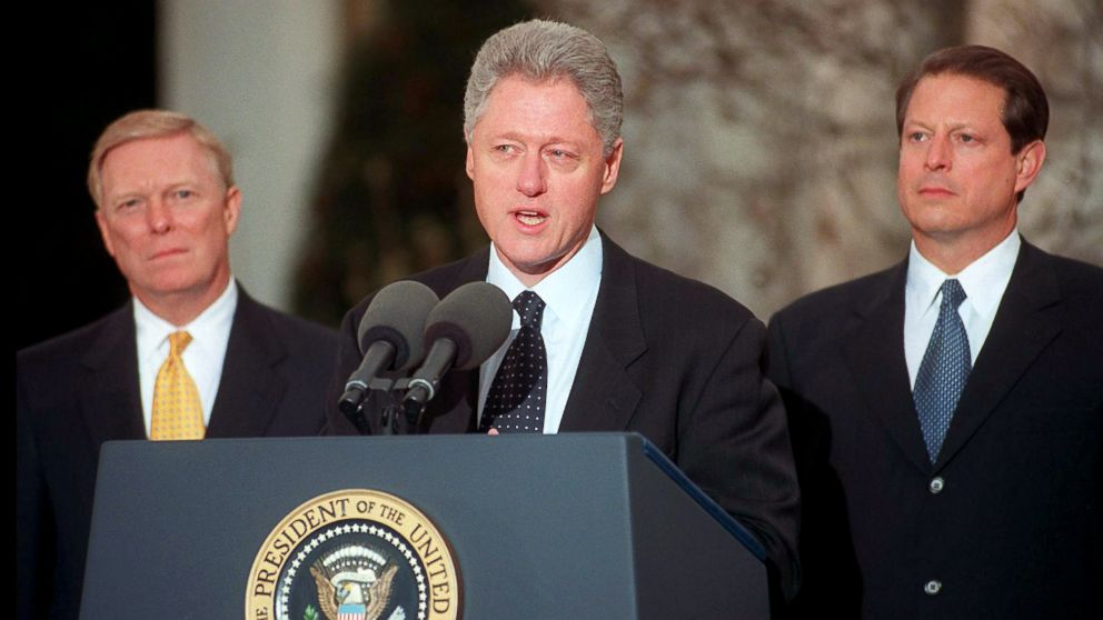 President Bill Clinton addresses the nation, Dec. 19, 1998, from the White House after the House of Representatives impeached him on charges of perjury and obstruction of justice.