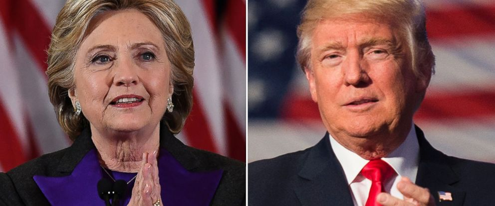 PHOTO: Pictured (L-R) are Democratic presidential candidate Hillary Clinton in New York City, Nov. 9, 2016 and President-elect Donald Trump in Hershey, Pennsylvania, Dec. 15, 2016.