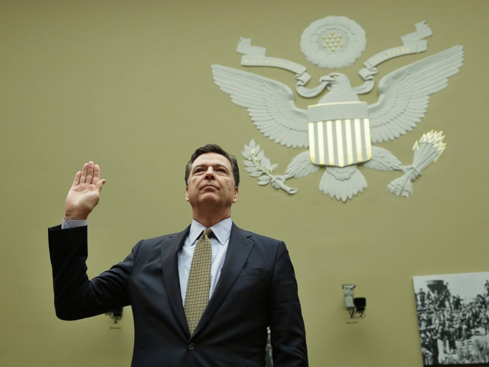 PHOTO: James Comey is sworn-in before a House Oversight and Government Reform Committee hearing on Capitol Hill in Washington, July 7, 2016.