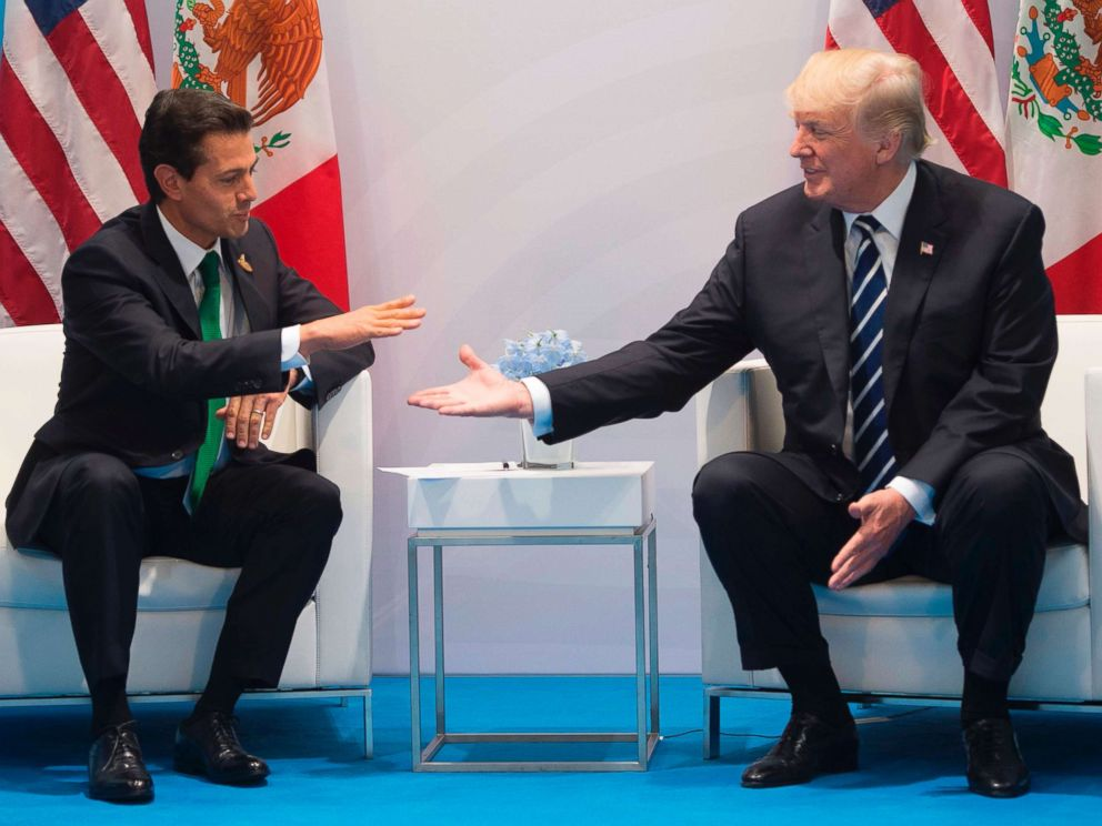 PHOTO: President Donald Trump and Mexican President Enrique Pena Nieto hold a meeting on the sidelines of the G20 Summit in Hamburg, Germany, July 7, 2017.