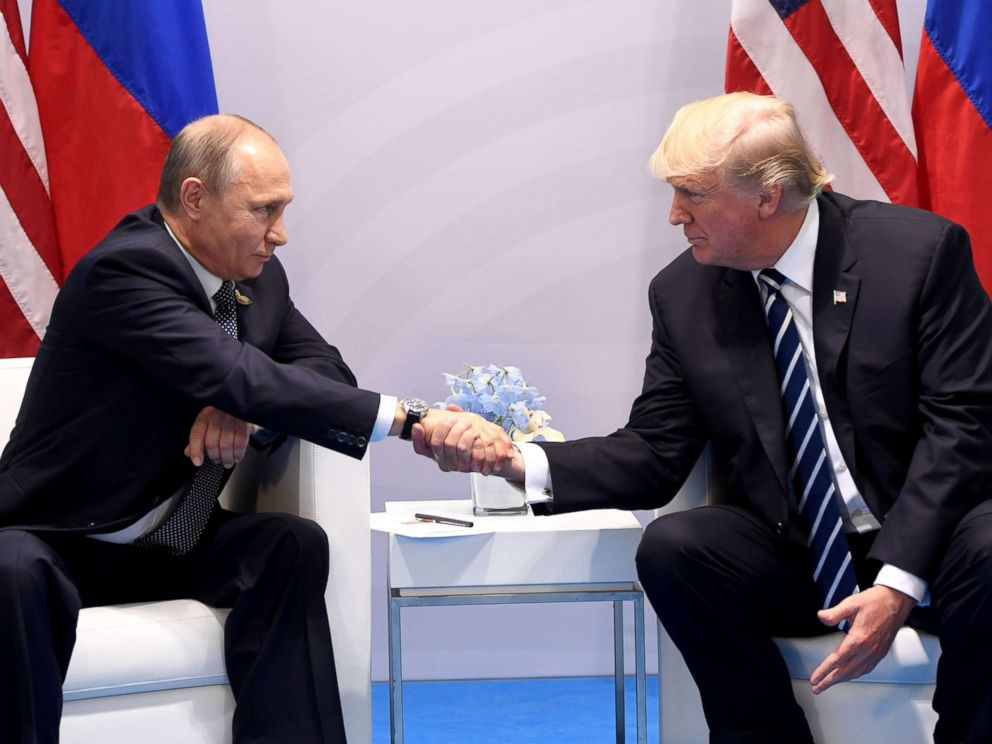 PHOTO: President Donald Trump and Russias President Vladimir Putin shake hands during a meeting on the sidelines of the G20 Summit in Hamburg, Germany, July 7, 2017.