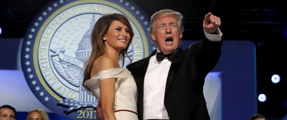 PHOTO: President Donald Trump dances with first lady Melania Trump during the inaugural Freedom Ball at the Washington Convention Center, Jan. 20, 2017, in Washington.