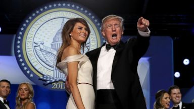 'PHOTO: President Donald Trump dances with first lady Melania Trump during the inaugural Freedom Ball1_b@b_1the Washington Convention Center, Jan. 20, 2017, in Washington.' from the web at 'https://s.abcnews.com/images/Politics/GTY-freedom-ball-01-as-170120_16x9t_384.jpg'