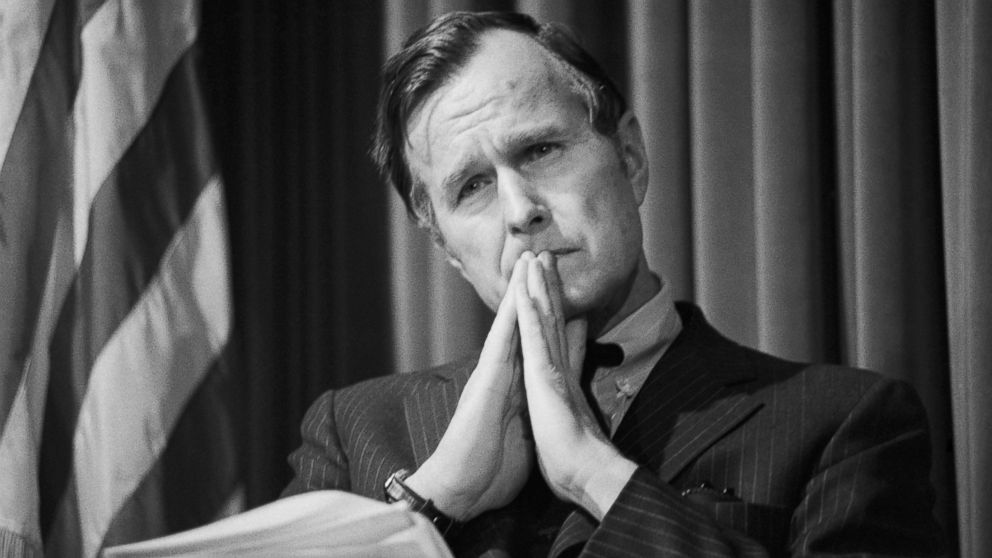 Then-C.I.A. Director Bush briefs reporters on then-President Ford's proposals for reform of the U.S. intelligence community, Feb. 18, 1976.