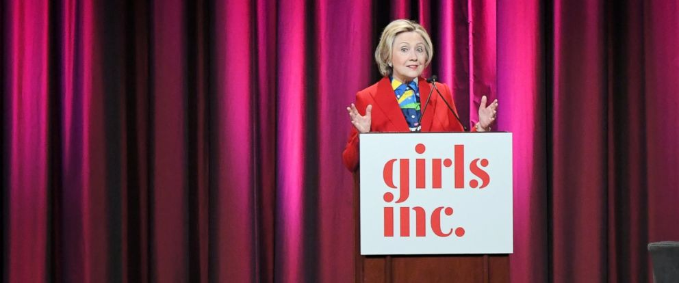 PHOTO: Hillary Clinton speaks onstage during the 2017 Girls Inc. New York luncheon celebrating women of achievement at New York Marriott Marquis Hotel, March 7, 2017, in New York.