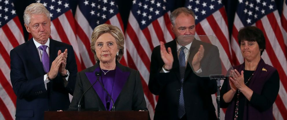PHOTO: Former Secretary of State Hillary Clinton (C) concedes the presidential election as former President Bill Clinton (L), Tim Kaine (2nd R) and Anne Holton (R) listen at the New Yorker Hotel, Nov. 9, 2016 in New York City.