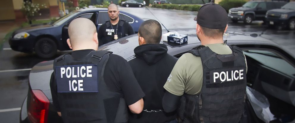 PHOTO: This image obtained Feb. 11, 2017 courtesy of the Immigration and Customs Enforcement (ICE) shows US Immigration and Customs Enforcement officers detaining a suspect during an enforcement operation on Feb. 7, 2017 in Los Angeles.