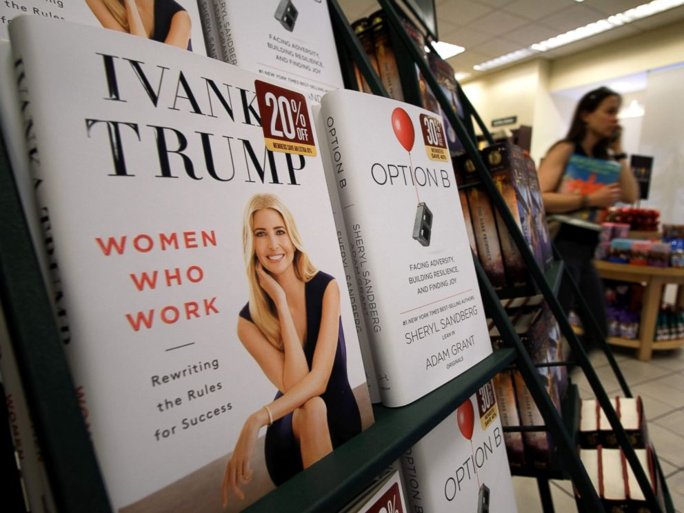 PHOTO: A woman walks past a shelf displaying Ivanka Trumps book Women Who Work: Rewriting the Rules for Success at a Barnes and Noble bookstore in New York, May 2, 2017.
