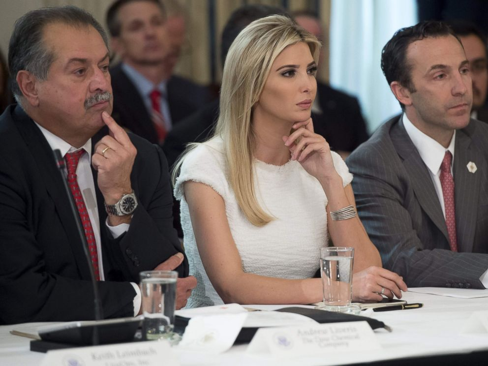 PHOTO: Ivanka Trump, Dow Chemical President, Chairman and CEO Andrew Liveris, left, and White House Assistant for Intragovernmental and Technology Initiatives Reed Cordish at the White House in Washington, Feb. 23, 2017.