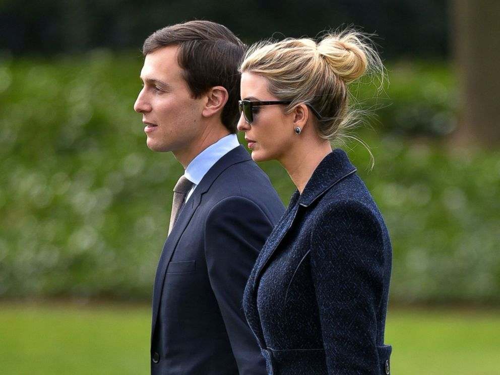PHOTO: Senior Advisor to the President, Jared Kushner, left, walks with his wife Ivanka Trump to board Marine One at the White House in Washington, D.C., March 3, 2017.