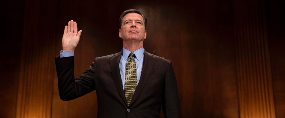PHOTO: FBI Director James Comey is sworn prior to testifying before the Senate Judiciary Committee on Capitol Hill, May 3, 2017.