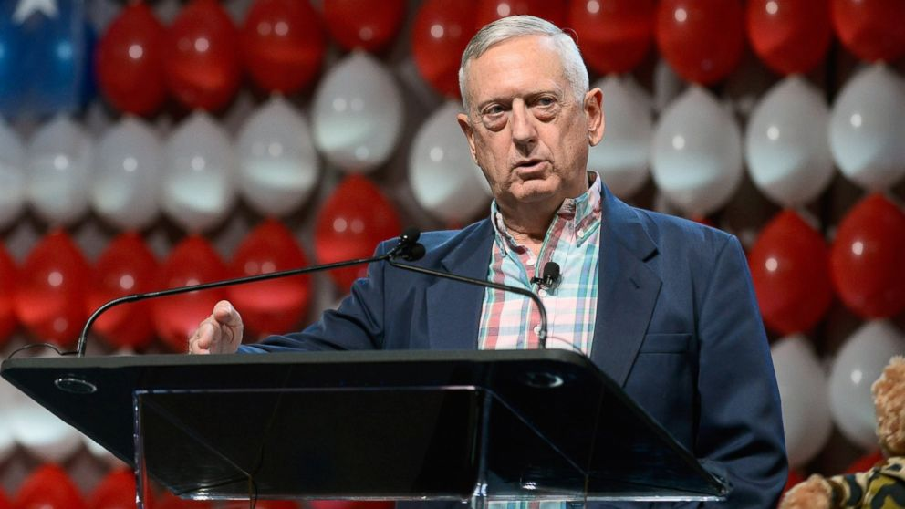 Retired Marine Corps Gen. James Mattis speaks during the DIRECTV and Operation Gratitude day of service at Caesars Palace, July 23, 2015 in Las Vegas.