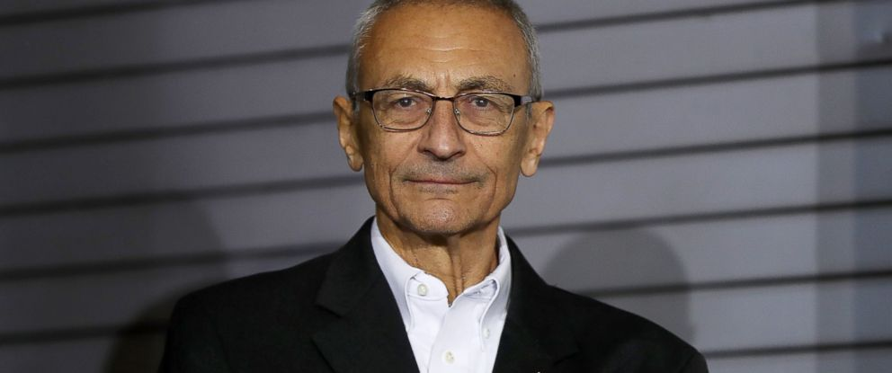 PHOTO: John Podesta, campaign chairman for Democratic presidential nominee former Secretary of State Hillary Clinton, looks on during a campaign rally at The Great Hall at Heinz Field, Nov. 4, 2016 in Pittsburgh, Pennsylvania.