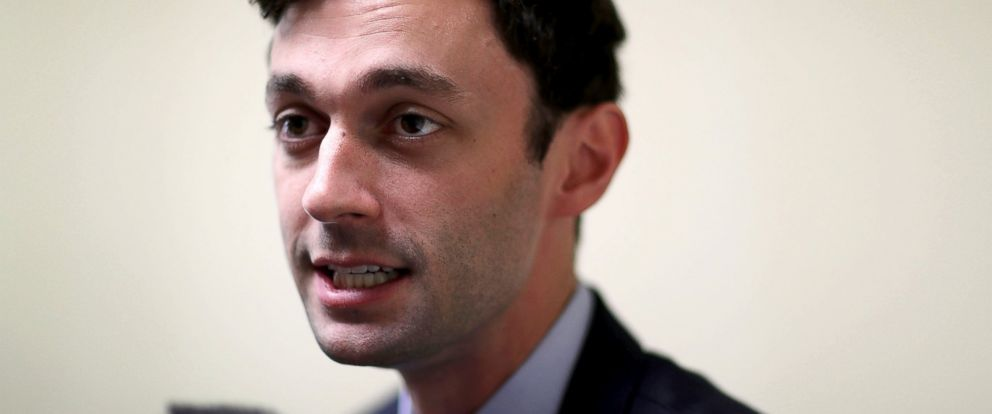 PHOTO: Democratic candidate Jon Ossoff speaks with the media as he runs for Georgias 6th Congressional District in a special election to replace Tom Price, who is now the secretary of Health and Human Services, April 15, 2017 in Atlanta, Georgia.