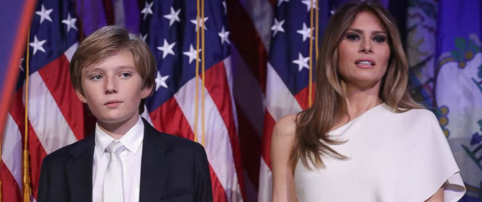 PHOTO: Barron Trump and his mother Melania Trump stand on stage after Republican president-elect Donald Trump delivered his acceptance speech at the New York Hilton Midtown in the early morning hours of Nov. 9, 2016 in New York City.