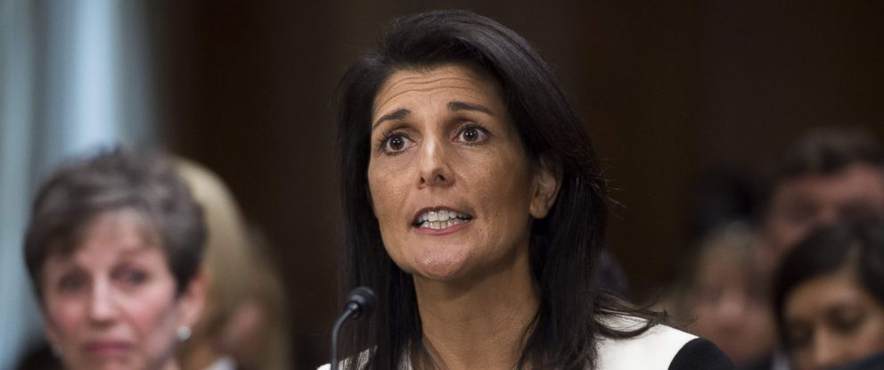 PHOTO: South Carolina Governor Nikki Haley testifies during her confirmation hearing for US Ambassador to the United Nations before the Senate Foreign Relations committee on Capitol Hill, Washington, Jan. 18, 2017.