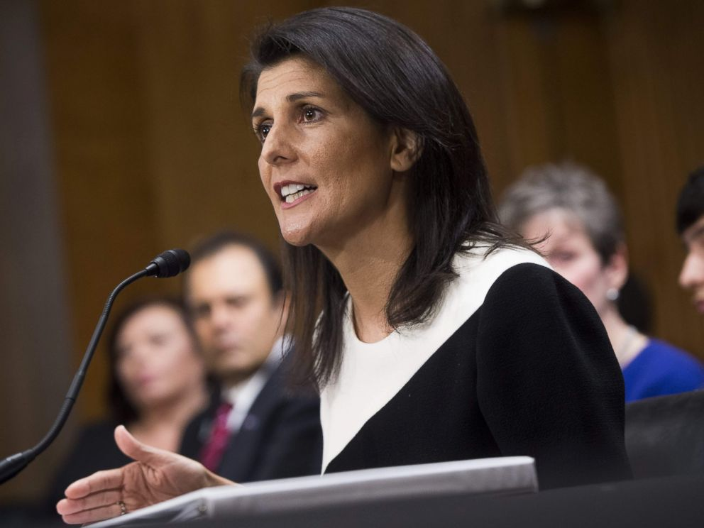 PHOTO: South Carolina Governor Nikki Haley testifies during her confirmation hearing for US Ambassador to the United Nations before the Senate Foreign Relations committee on Capitol Hill in Washington, Jan. 18, 2017.