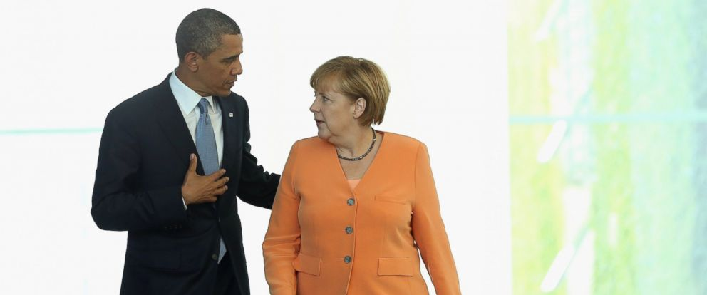 PHOTO: President Barack Obama and German Chancellor Angela Merkel arrive to speak to the media following bilateral talks at the Chancellery, June 19, 2013, in Berlin, Germany.