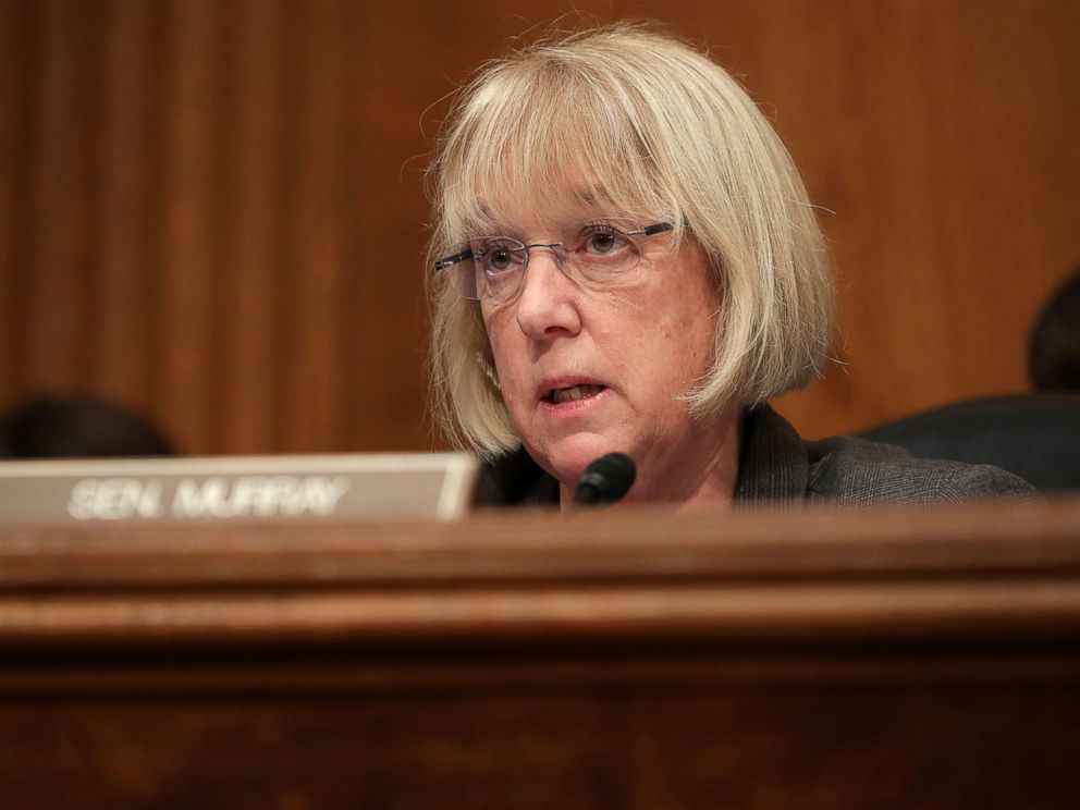 PHOTO: Senate Health, Education, Labor and Pensions Committee ranking member Patty Murray questions Betsy DeVos, President-elect Donald Trumps pick to be the next Secretary of Education, during her confirmation hearing, January 17, 2017, in Washington.