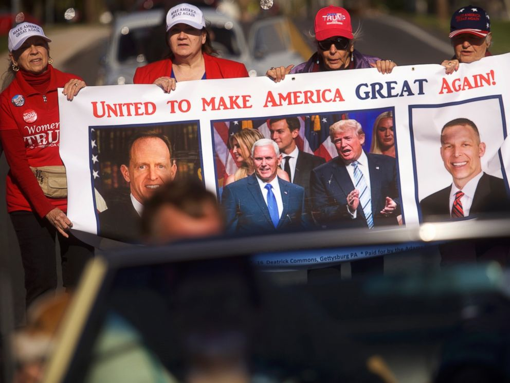 PHOTO: Donald Trump supporters, including (2nd R) Elizabeth Hower and (R) Happy Freas, march in the Harvest Festival Parade, Oct. 22, 2016 in New Oxford, Pennsylvania.