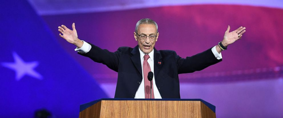 PHOTO: Democratic presidential nominee Hillary Clintons campaign manger John Podesta speaks during election night at the Jacob K. Javits Convention Center in New York, Nov. 9, 2016.