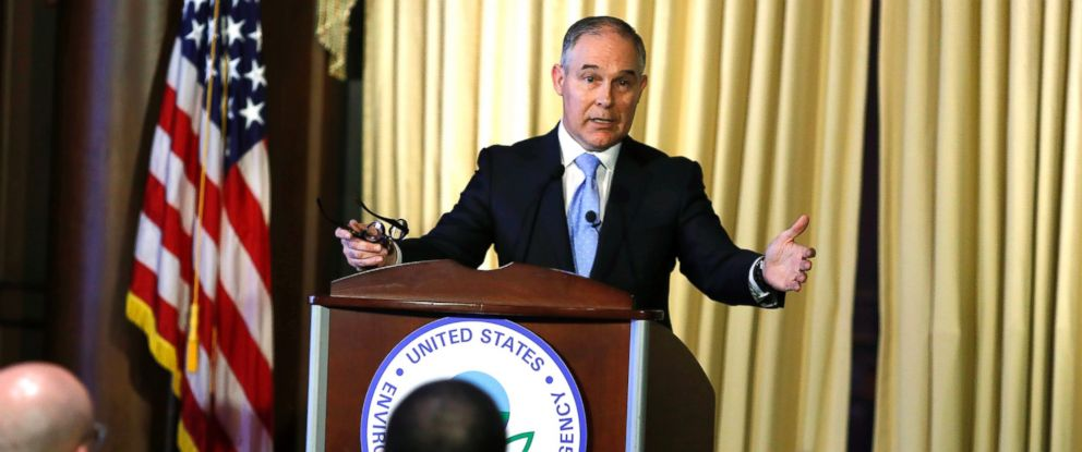PHOTO: Environmental Protection Agency Administrator Scott Pruitt address employees at the agencys headquarters, Feb. 21, 2017, in Washington.