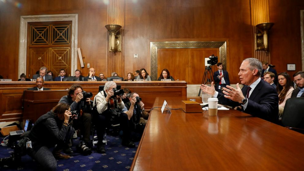 Oklahoma Attorney General Scott Pruitt testifies during his confirmation hearing before the Senate Committee on Environment and Public Works on Capitol Hill, Jan. 18, 2017, in Washington.